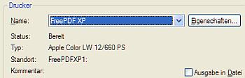 Wählen Sie im Druckermenü Ihrer Anwendung den Drucker FreePDF XP aus.