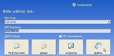Hier stellen Sie die Qualität der Bilder im späteren PDF und den Dateinamen ein.