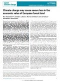 Climate change may cause severe loss in the economic value of European forest land, © Nature Climate Change