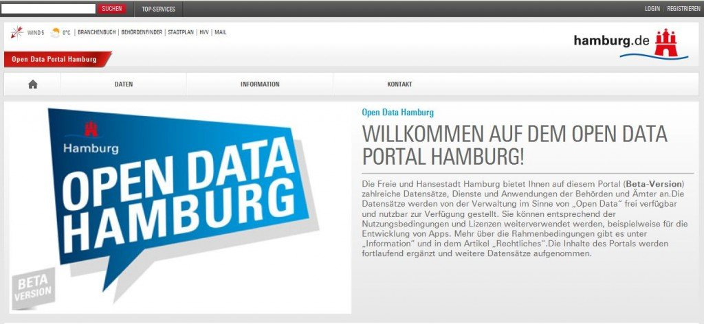 Open-Data-Portal Hamburg, Screenshot, © www.daten.hamburg.de