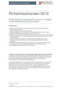 Firmeninsolvenzen 2013, © Bürgel Wirtschaftsinformationen