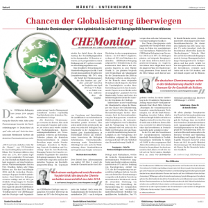 CHEManager 3-4/2014: CHEMonitor, © CHEManager/Camelot Management Consultants
