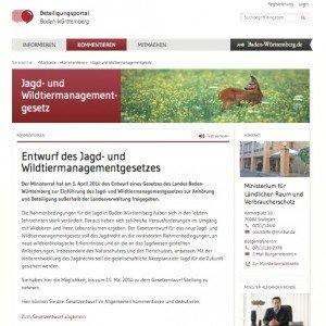 Beteiligungsportal Baden-Württemberg: Entwurf des Jagd- und Wildtiermanagementgesetzes