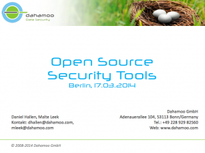 Open Source Security Tools, © Dahamoo