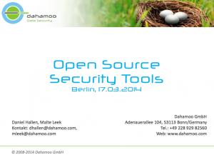 Open Source Security Tools, © Dahamoo