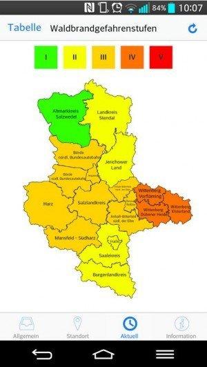 Waldbrand-App Sachsen-Anhalt (Screenshot, © Google Store)