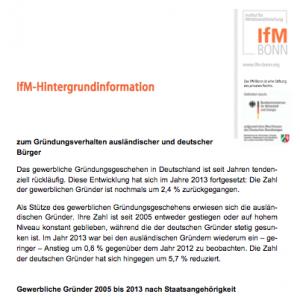 Hintergrundinformation zum Gründungsverhalten ausländischer und deutscher Bürger, © IfM Bonn