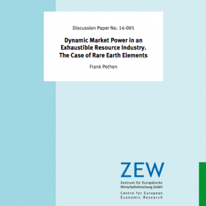 Frank Pothen: Dynamic Market Power in an Exhaustible Resource Industry. The Case of Rare Earth Elements. (Bild: Screenshot, © ZEW)