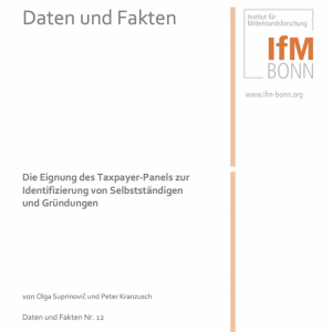 Daten und Fakten: Die Eignung des Taxpayer-Panels zur Identifizierung von Selbstständigen und Gründungen (2014), © IfM Bonn