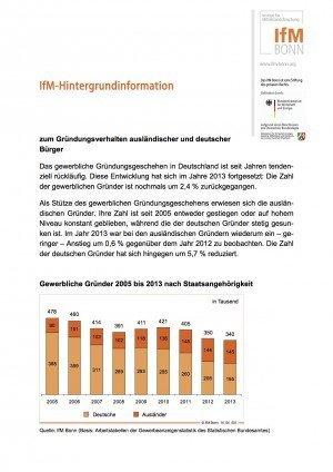 IfM-Hintergrundinformation zum Gründungsverhalten ausländischer und deutscher Bürger