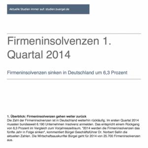 Firmeninsolvenzen 1. Quartal 2014, © Bürgel