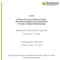 Untersuchung zu Seltenen Erden: Permanentmagnete im industriellen Einsatz in Baden-Württemberg, © Öko-Institut 2014