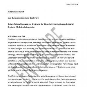 Entwurf eines Gesetzes zur Erhöhung der Sicherheit informationstechnischer Systeme (IT-Sicherheitsgesetz), © BMI