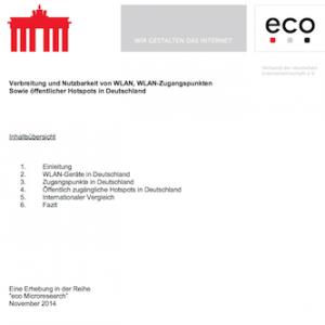 eco-Hintergrundpapier: Verbreitung und Nutzbarkeit von WLAN, WLAN-Zugangspunkten sowie öffentlicher Hotspots in Deutschland, ©eco