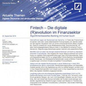 Fintech – Die digitale (R)evolution im Finanzsektor, ©DB Research