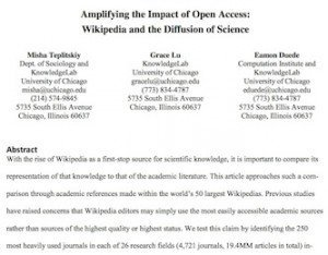 Wikipedia and the Diffusion of Science, © arXiv.org
