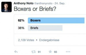 Boxers or Briefs?, © Anthony Noto – Twitter