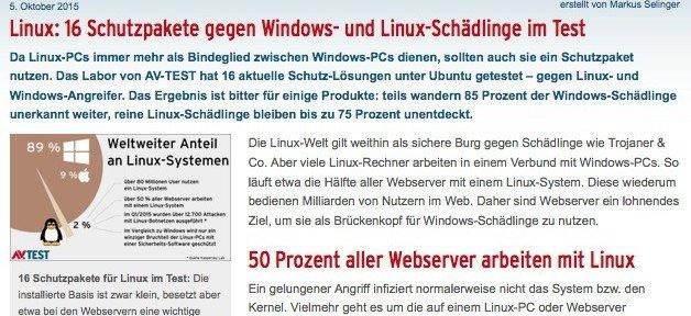 Malware-Schutz für Linux, ©AV-TEST GmbH