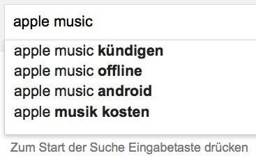 Vorschläge für Apple Music, © Google, Inc.