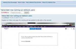 Yahoo sperrt Adblocker, © Adblock Plus