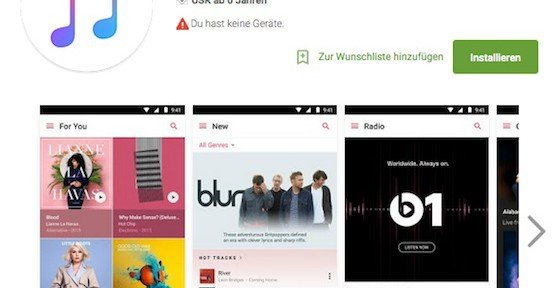 Apple-Music-App für Android, © Apple Inc. – Google