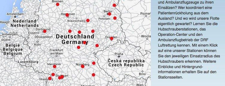 Standorte der DRF Luftrettung, © DRF e.V.