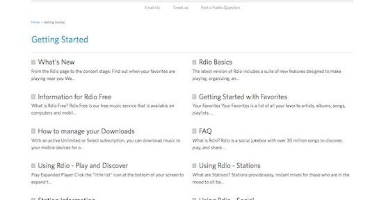 Getting started?, © Rdio Inc.