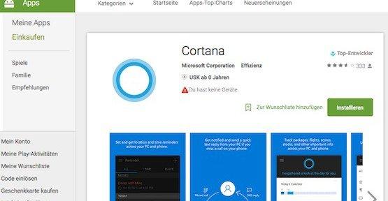 Cortana für Android, © Microsoft – Google