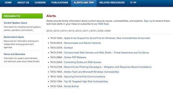 Quicktime-Alert, © US-CERT Security Operations Center