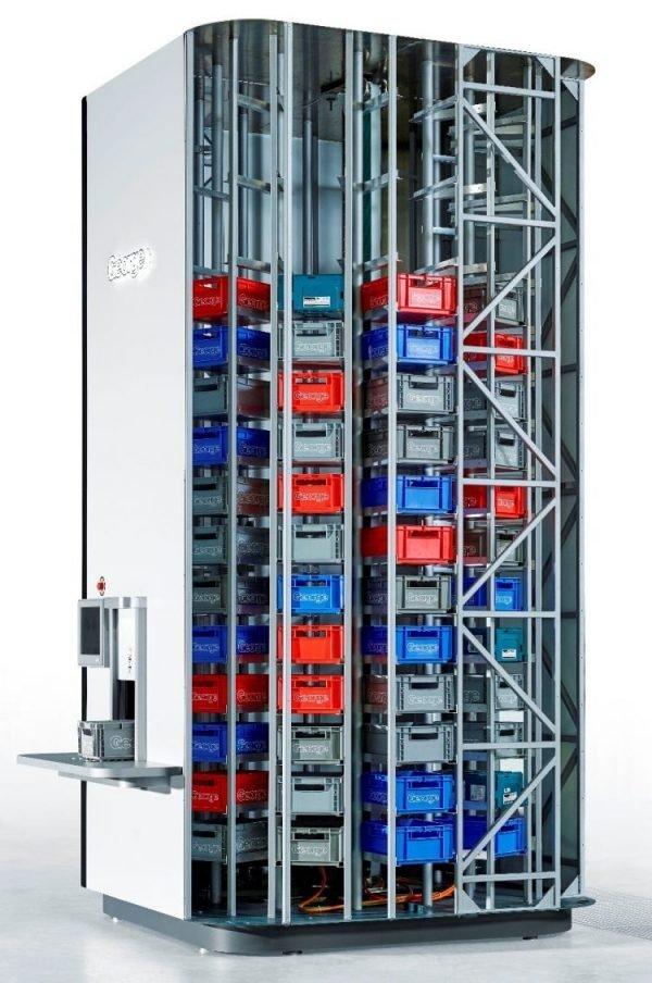 Smarter Lagerturm verwaltet Kleinteile in Eurobehältern