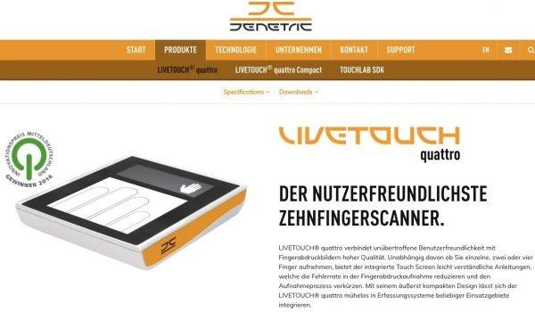 Den Fingerscanner Livetouch Quattro gibt es jetzt auch mobil