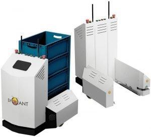 Autonomer Transportroboter bringt Kistenstapel in die Werkshalle