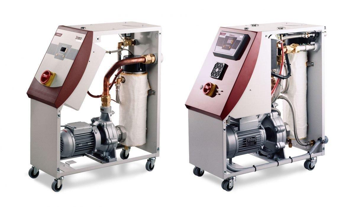 Kunststoffverarbeitung120-Grad-Temperiergerät regelt den Sollwert nach Systemdruck