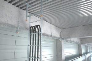 Starke Gitterrinne schafft 4 Meter bis zur nächsten Stütze