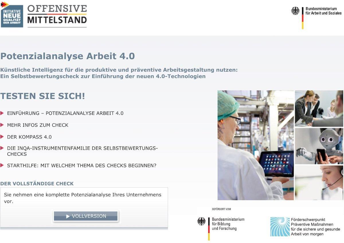 Arbeit 4.0Online-Selbstbewertungscheck gibt Auskunft zur eigenen Digitalisierung