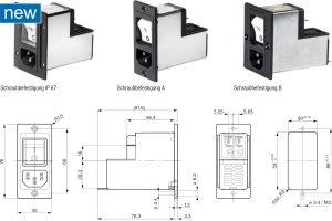 Schurter kombiniert Gerätestecker mit Schutzschalter und Filter