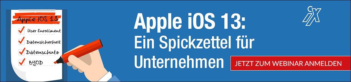 Webinar: Apple iOS 13 - ein Spickzettel für Unternehmen