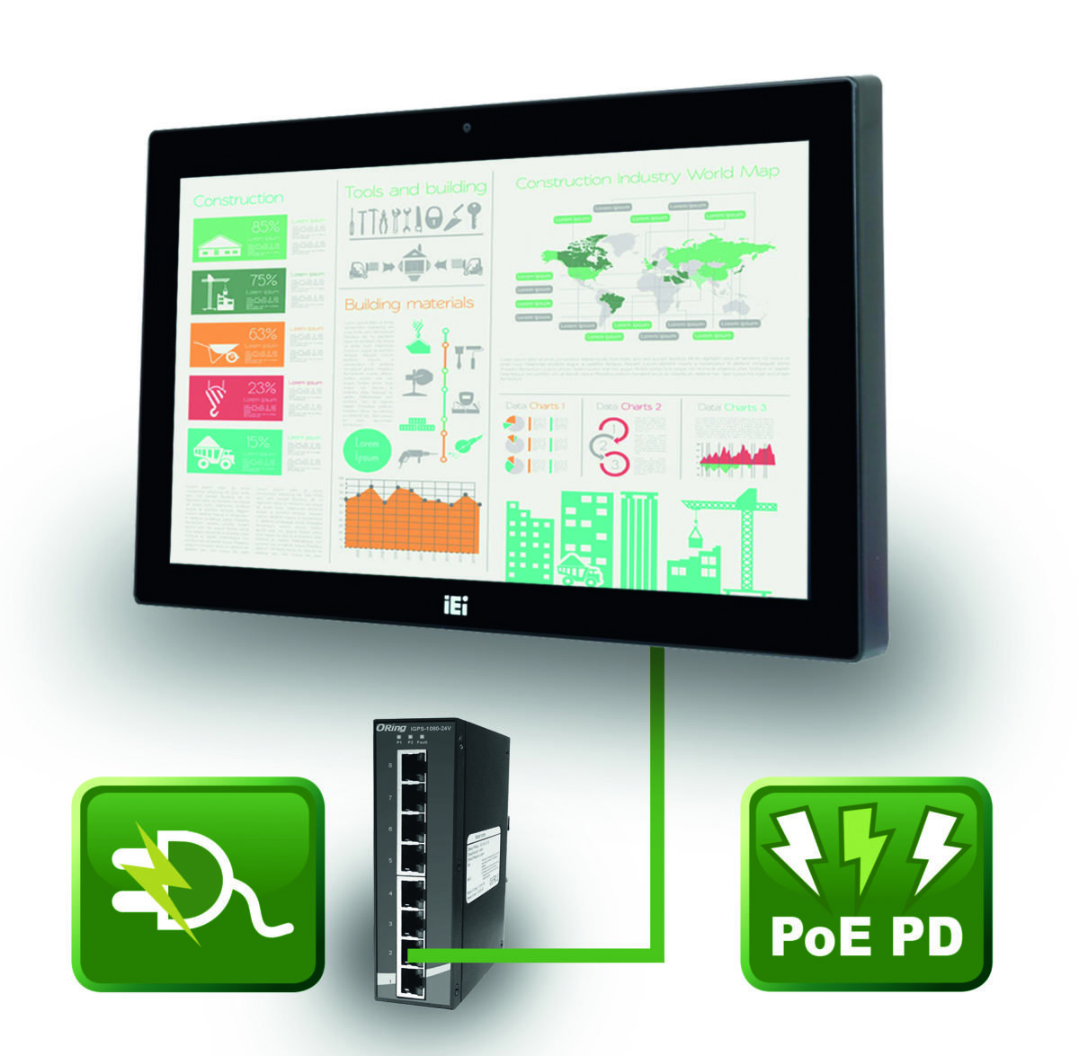 Power over EthernetICP-Industrie-Panel zieht Strom über das Datenkabel